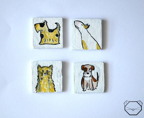 Dog Magnets  Terrier Art  Set Of 4  Wood Magnets  by KubuHandmade