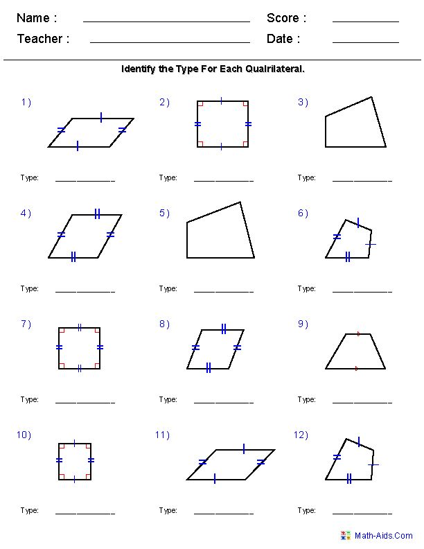 Geometry Worksheets | Quadrilaterals and Polygons Worksheets