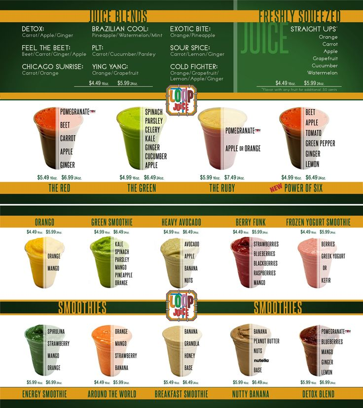 juice menu - Cerca con Google