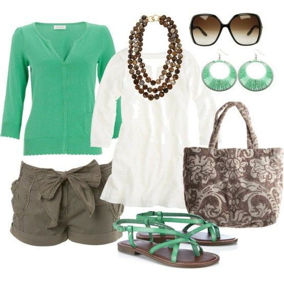womens-outfits-7: Shoes, Colors Combos, Chocolates Chips, Mint Green, Bows Shorts, Summer Outfits, Mint Chocolates, Spring Outfits, Summer Clothing