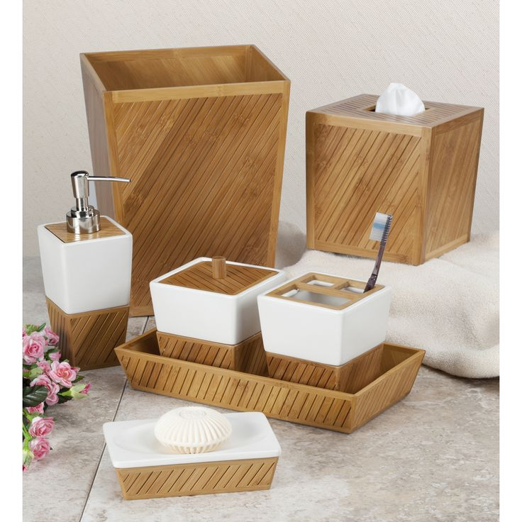 This chic bamboo bathroom collection is the perfect add on to a modern designed bathroom.