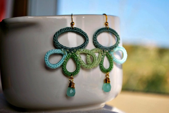 Crochet Earrings Light Pastel Colors Teal and by LavenderField, $37.00