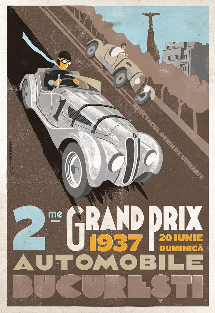 Grand Prix Automobile Bucuresti, Ernst Henne, BMW 328, 1937, Romanian Vintage Poster.