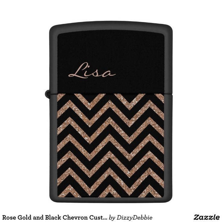 Rose Gold and Black Chevron Custom Zippo Lighter