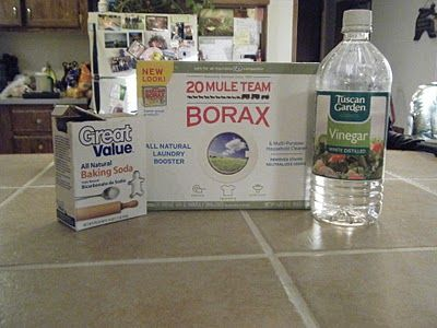 DIY Grout Cleaner  Combine 1 Tbl Borax, 2 Tbl baking soda and 1 Tbl water to make a paste.  Scrub the paste into the tile grout using a toothbrush to remove the dirt.  Wipe clean with water.