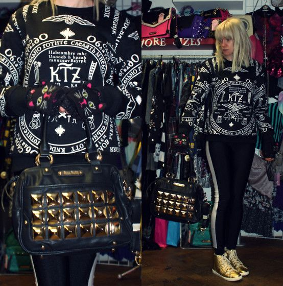 22-11-13 KTZ Church print Sweatshirt RRP £39 - Rokii £29.25, Anna Smith Gold Studded Black Luxe Leather PU RRP £45 - Rokii save 20% £36   ROKII ONLINE SHOP, Rokii Portsmouth, www.rokii.co.uk Order through FB or on the phone 02392294081 and get FREE LOCAL DELIVERY PO1-PO6, Lay Away until Christmas, Pay-Wrap-Deliver Primark Cat Print Gloves Aw13, Urban Outfitters White Stripe Leggings Aw12, Anna Smith Gold Studded Black Handbag Kg Shoes Gold Pyramid Trainers Aw12