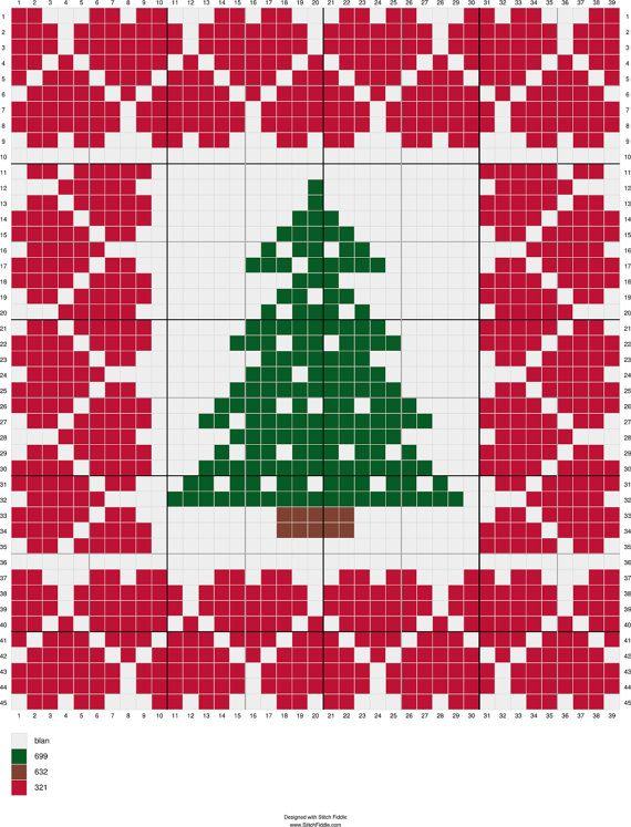 5 Christmas Trees Criss Stitch Pattern  by CamisTheCrossStitch