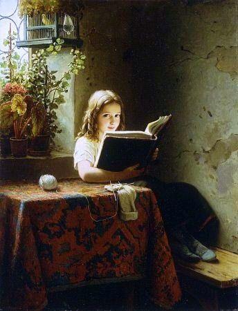 Johann Georg Meyer von Bremen, A Girl Reading // Art / Artist / Painting / Books / Reading /
