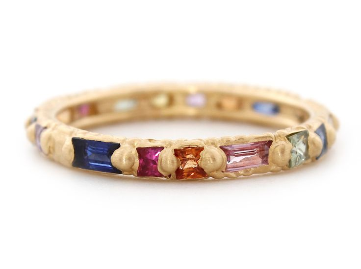 """The classic Rapunzel band, here with hand-selected mixed-cut sapphires in our extra vibrant """"Harlequin"""" colours. Pictured in 18ct Yellow Gold 1.6ct Sapphires Dimensions: 3mm band"""