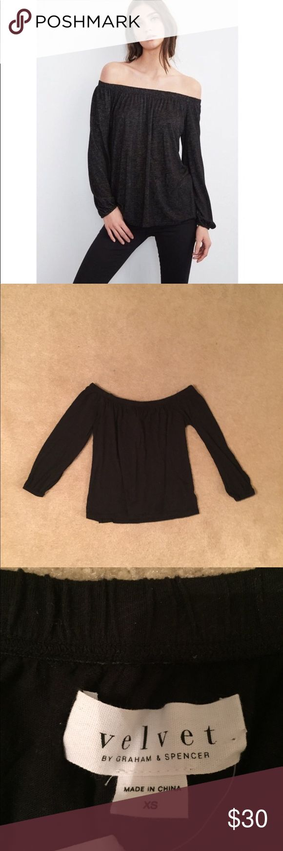 NWT Velvet - Graham & Spencer off the shoulder top NWT. Brand: Velvet by Graham and Spencer. Off the shoulder. Elastic gathered cuff. Size XS. Velvet by Graham & Spencer Tops
