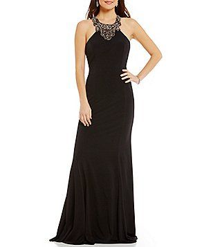 17d075a5de3 Coya Collection High Neck Sleeveless Beaded Draped Illusion Back Long Dress