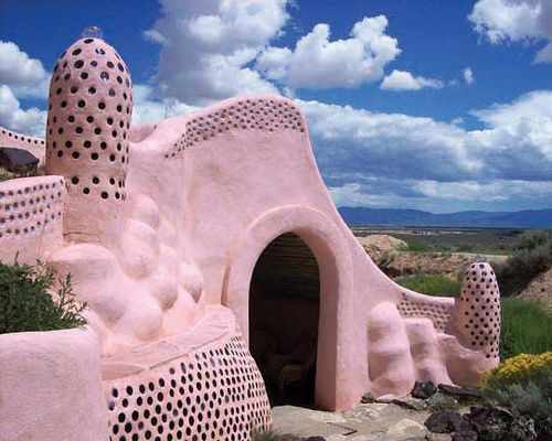 Pink Earth Ship, Taos, New Mexico
