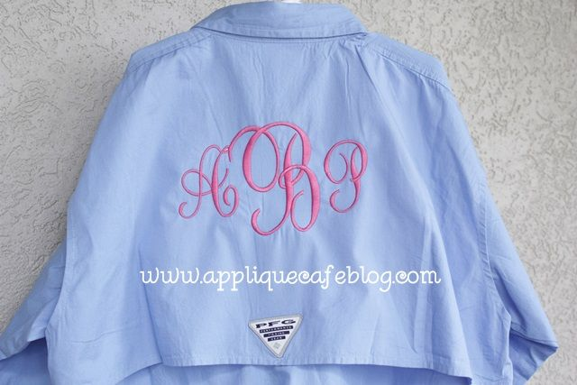 Monogramming pfg fishing shirts embroidery for Embroidered columbia fishing shirts