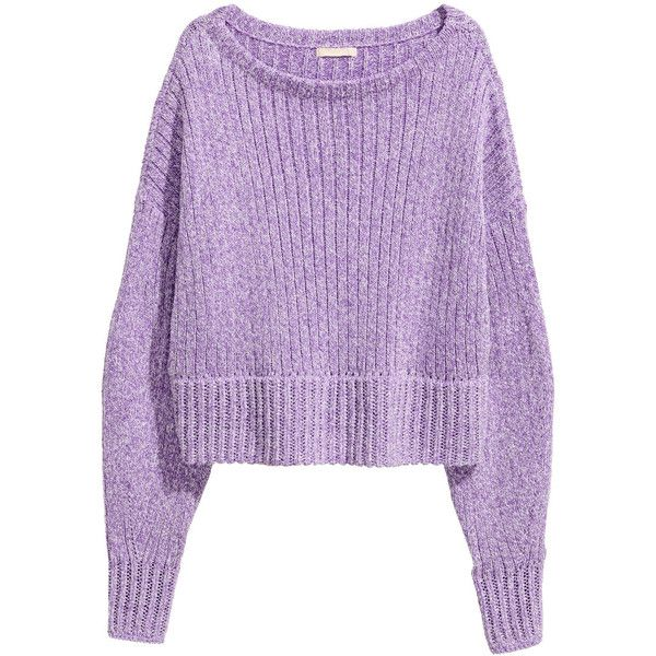 H&M Neulepusero 27,99 (£11) ❤ liked on Polyvore featuring tops, sweaters, h&m, purple top, h&m tops, h&m sweaters and purple sweater