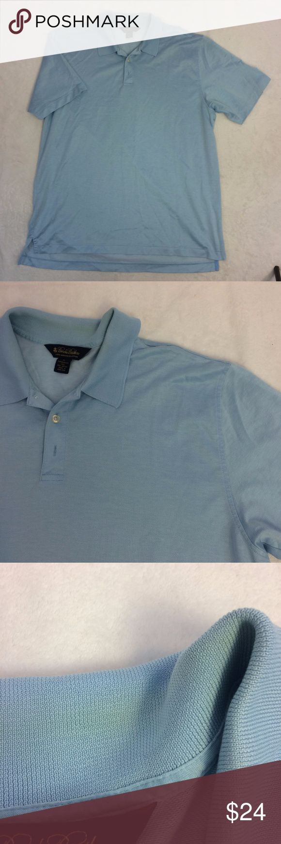 "[Brooks Brothers] Mercerized Cotton Button Up XL -Size x-large -Double mercerized cotton casual button down shirt -Collar style -Flaws: collar has some discolor on fold & slight stain on front (see photos) -100% cotton -Lightweight  -Light blue polo  Measurements: Pi to pit 25"" Waist 25"" Sleeve 11"" Length 31""  We are always open to reasonable offers on all of the items in our closet! Brooks Brothers Shirts Polos"