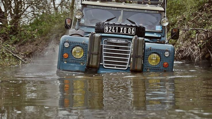 My old land rover fording the river , december 2014 , east of France