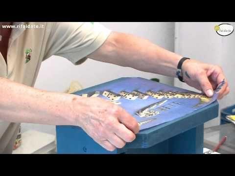 Tutorial: Decoupage su scatola porta-cucito (decoupage on sewing organizer) [eng-sub] - YouTube