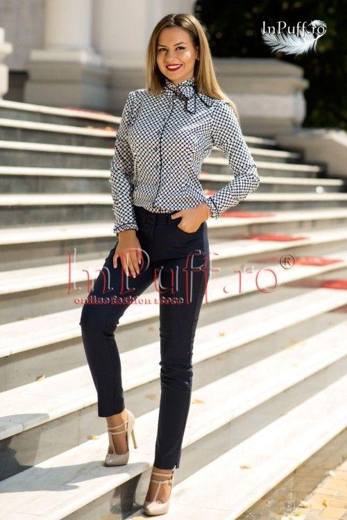 Camasa bleumarin cu buline  #magazindefashion