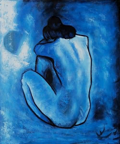 Blue Nude, c.1902 by Pablo #Picasso #art #painting. This print hung on my wall during a period of my life. reflection.