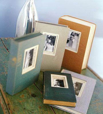Transform old books into frames for your photos.    Using a ruler and pencil, mark an opening on the front cover. Place the front cover on a cutting mat, and use a utility knife or craft knife and straightedge to cut on the drawn lines.    More here:  http://www.bhg.com/decorating/do-it-yourself/fabric-paper-projects/easy-crafts-with-photos/?sssdmh=dm17.619148=nwcu091812#page=10