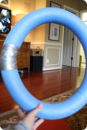 Love this idea! pool noodle turned wreath. Inexpensive way to make a bigger one!!!!!