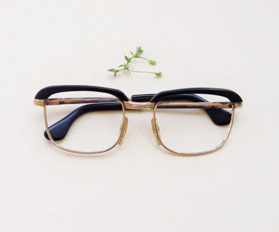 Vintage 50s glasses frame   gold and brown geek optical frames   Vintage  50s unisex Eyewear   geek spectacles man. Óculos De GrauArmações ... bd79c78921