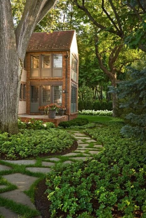 Sidewalk: Idea, Window, Walkways, Gardens Paths, Step Stones, Stones Paths, House, Landscape, Sunroom