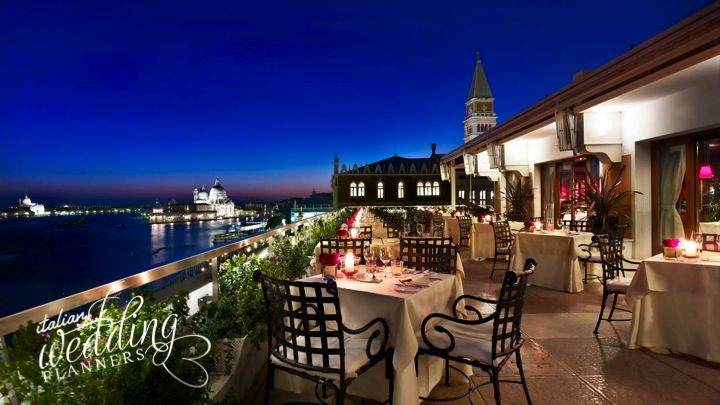 Your Venetian wedding dinner on top terrace of the Luxury Palace, with lights twinkling outside and lull of the canal below is a feast for all the senses