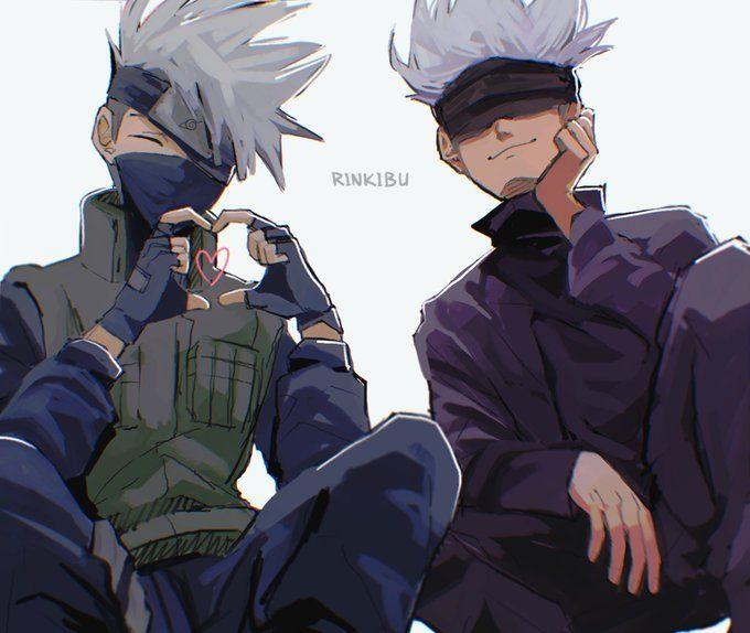 Kakashi And Gojō By Rinkibu On Twitter Kakashi Anime Naruto Anime Crossover