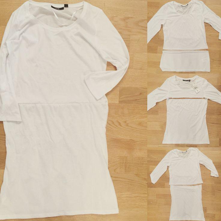 """Ce matin, c'est opération """"combinaisons"""" pour mettre sous mes robes pour dire adieu aux doublures fastidieuses ! Il suffit de 2 t-shirts ou 2 débardeurs de la même taille. Couper l'un juste en dessous des aisselles pour faire la jupe et supprimer de la hauteur au premier pour faire le haut (en fonction de la longueur finale souhaitée) et un coup de surjetteuse plus tard : une """"magnifique"""" combinaison-t-shirt qui tient chaud et rend opaque les petites robes transparentes :-)…"""