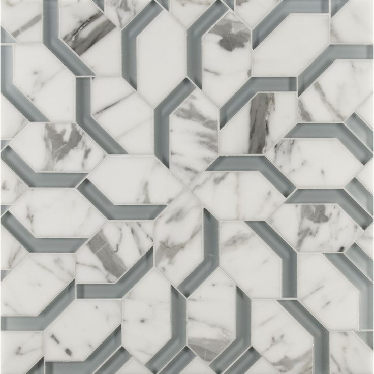 Liberty Mosaics | ANN SACKS Tile & Stone | spring petite mosaic in abalone blue clear glass and statuario stone