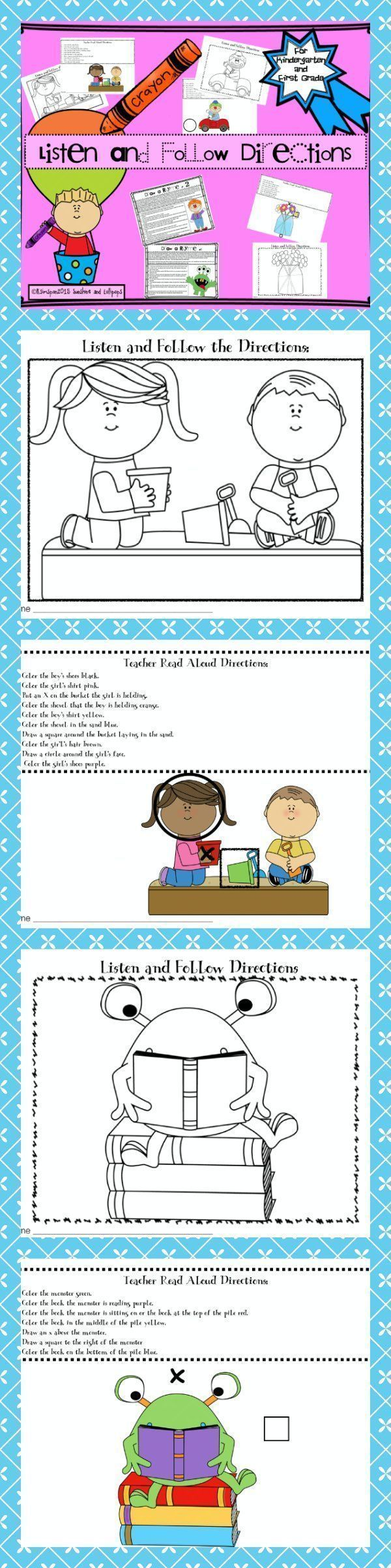 Listening and Following Directions Ready to print and use for K-1. First  GradeSecond ...