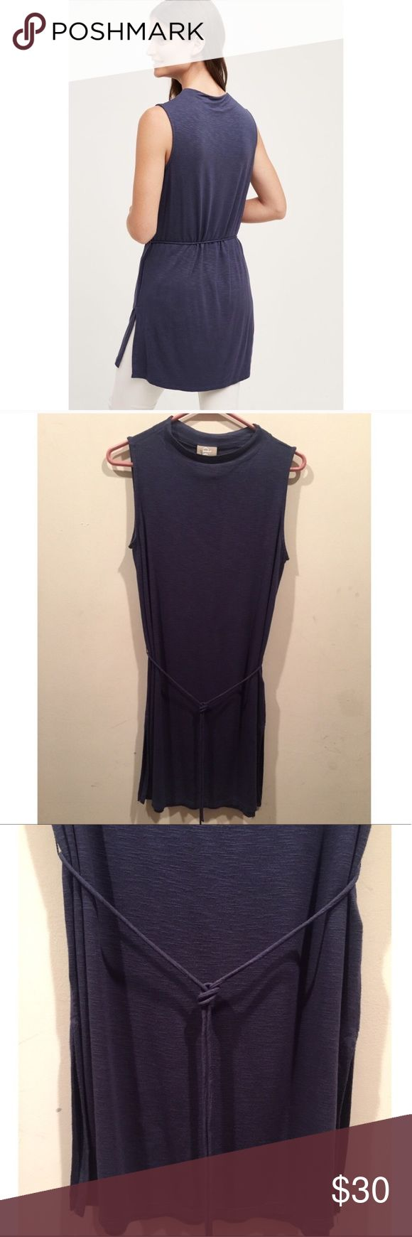☀️EUC Anthropologie Dolan Left Coast Tie Tunic Top Dolan Left Coast Collective by Anthropologie Fina Sleeveless Tie Tunic Top in navy, worn once & has no stains, holes, tears, or marks, size small. Can be worn as a dress or long tunic top! Anthropologie Tops Tunics