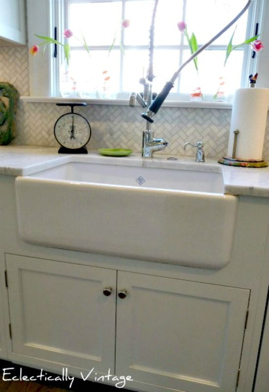 Farm Style Faucets : Kitchen Farmhouse Sink via Eclectically Vintage. style of faucet with ...
