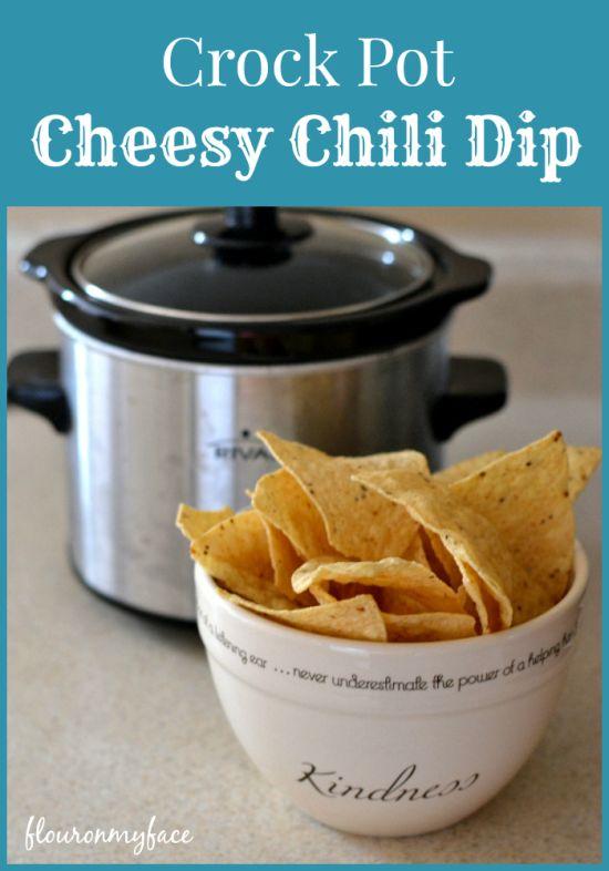 Easy Crock Pot Cheesy Chili Dip   http://flouronmyface.com/2014/11/crock-pot-cheesy-chili-dip.html