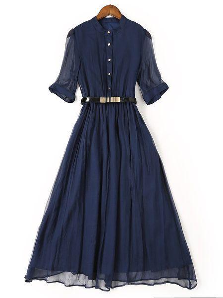 Blue Work Swing Silk-blend Midi Dress With Belt