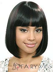 Wig Online Short Straight Black Full Bang African American Wigs for Women 12 Inch