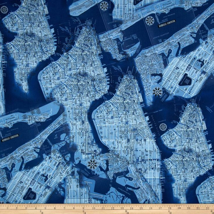 New York State Of Mind Map Blue