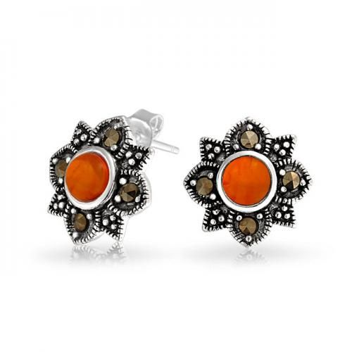 Bling Jewelry Gemstone Honey Amber Flower Stud Earrings Antique 925 Silver