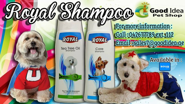 Royal Shampoos are a great value for pets and their owners. For sensitive skin and mild care against parasite. Avail Now for affordable prices. For more information: Call:042677789 loc 112 Email:sales7@goodidea.ae ◘ We are open for those who have petshops,pet store and Good samaritans helping those stray with promotional offer ♥ Also Available in : SOUQ.COM