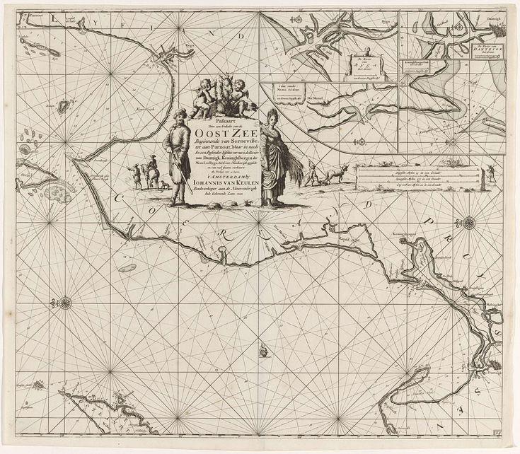 Paskaart van een gedeelte van de Oostzee met de kust van Polen en Letland, Jan Luyken, Johannes van Keulen (I), onbekend, 1681 - 1799