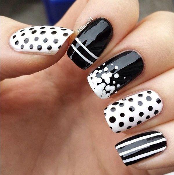black and white nail art-45 - 55 Black and White Nail Art Designs <3