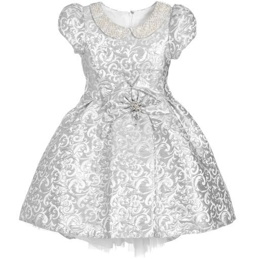 d6c58c27c1aa Romano Princess - Girls Silver Jacquard Dress with Bag ...