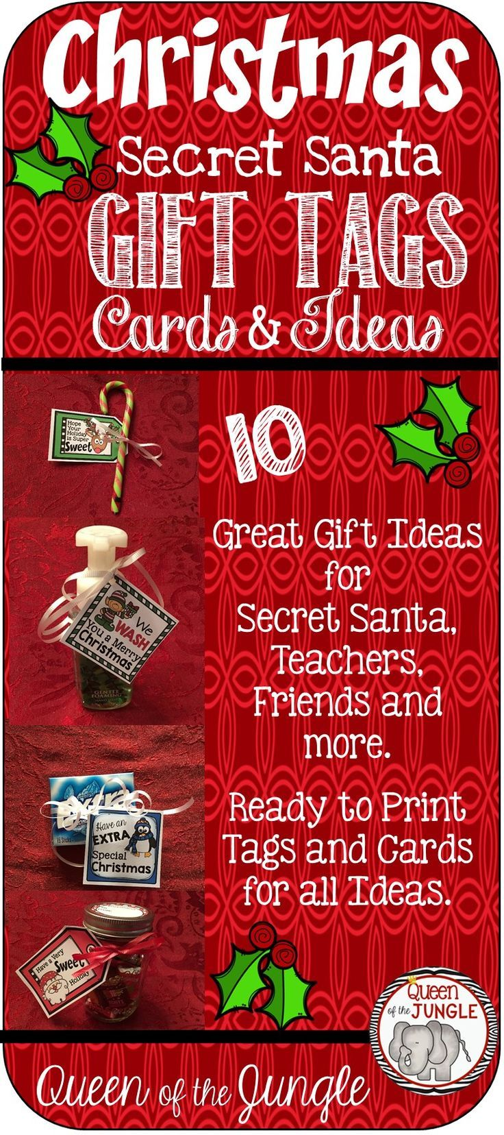 secret santa printable christmas gift tags tpt free lessons