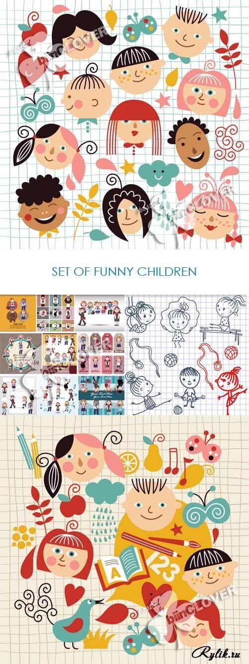 Забавные дети - векторные рисунки детей и детских лиц