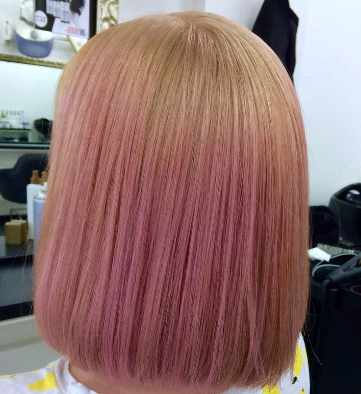 Blonde to Pink Ombre colour, style cut into a bob.