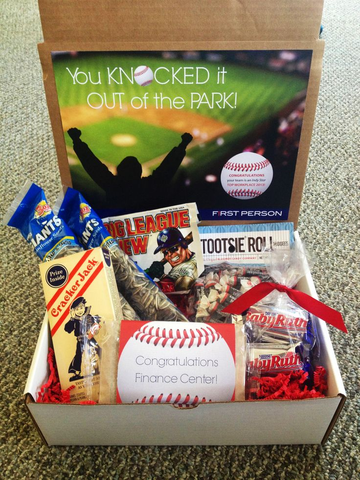 """You Knocked it Out of the Park!"" baseball themed gift box (cracker jacks, sunflower seeds, tootsie rolls, popcorn, Baby Ruth, and Big League Chew)."