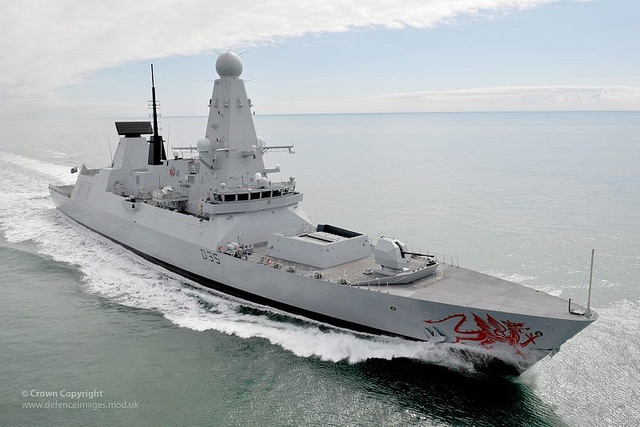 Royal Navy Type 45 Destroyer HMS Dragon.  The Royal Navy's latest addition to the fleet, the Type 45 destroyer HMS Dragon is pictured exercising in the English Channel.