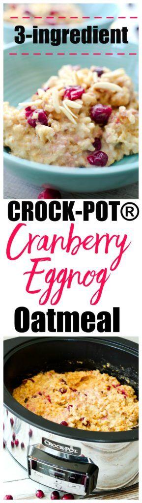 Crock-Pot slow cooker Cranberry Eggnog Oatmeal. Steel cut crockpot oatmeal makes the best Christmas morning breakfast! gluten-free recipe