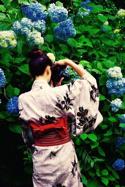明月院にて。。浴衣のカメラ女子。。6月6日